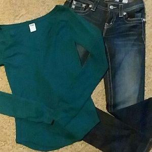 Miss Me jeans/VS pink top